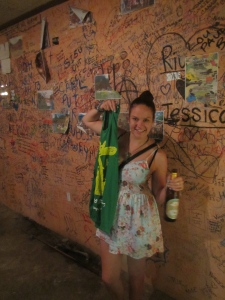 Winning a free shirt (Featuring a kangaroo and Australia colours?) with a beer, and leaving my mark on the walls. Vang Vieng - party capital.