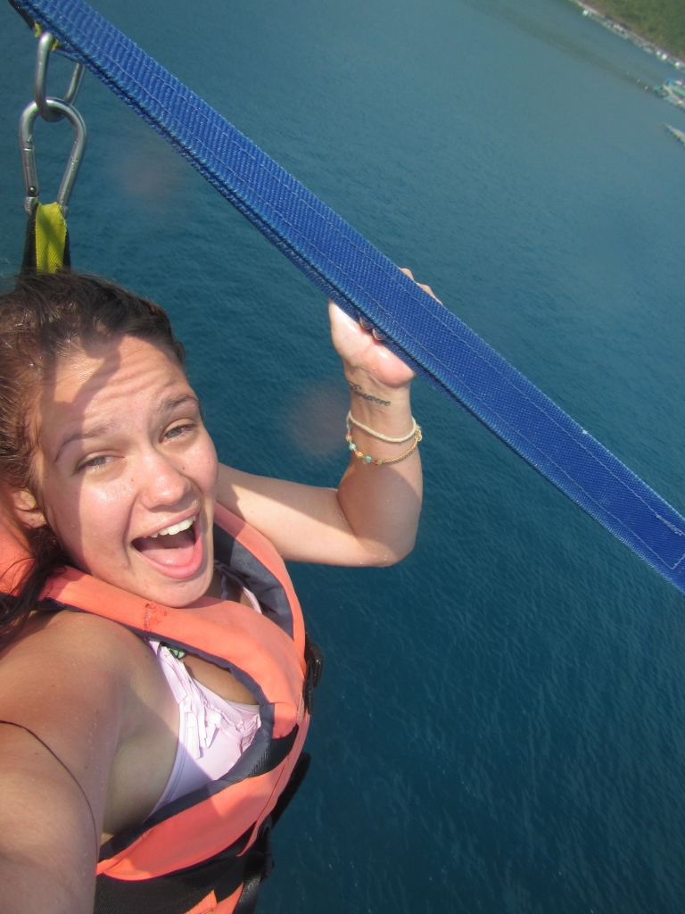 It's really hard to take a good selfie when parasailing.