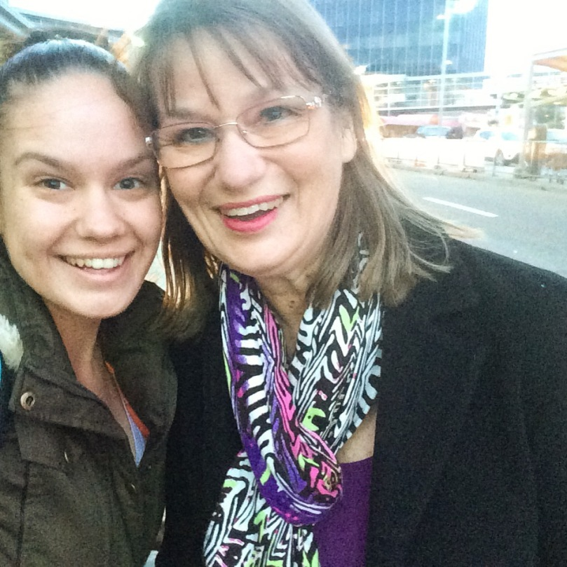Myself and my Mum outside Edmonton Airport, delirious after 40 hours of travelling.